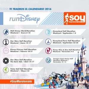 Fechas carreras maratones Disney 2016
