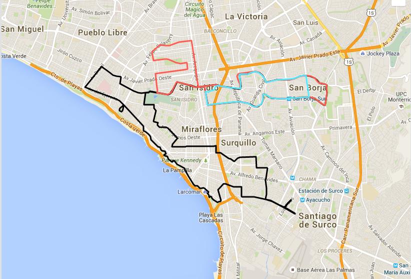 Recorrido maratón Lima 42K, 21K y 10K