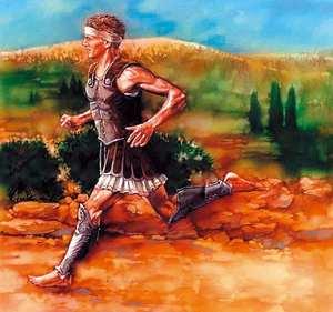 Filípides, soldado griego que recorrió los 40km que separan Atenas de Maraton para comunicar la victoria de los griegos