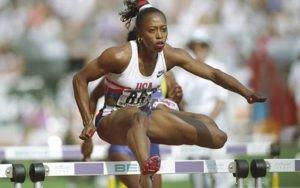 Gail Devers participando en las olimpiadas de Londres 2012